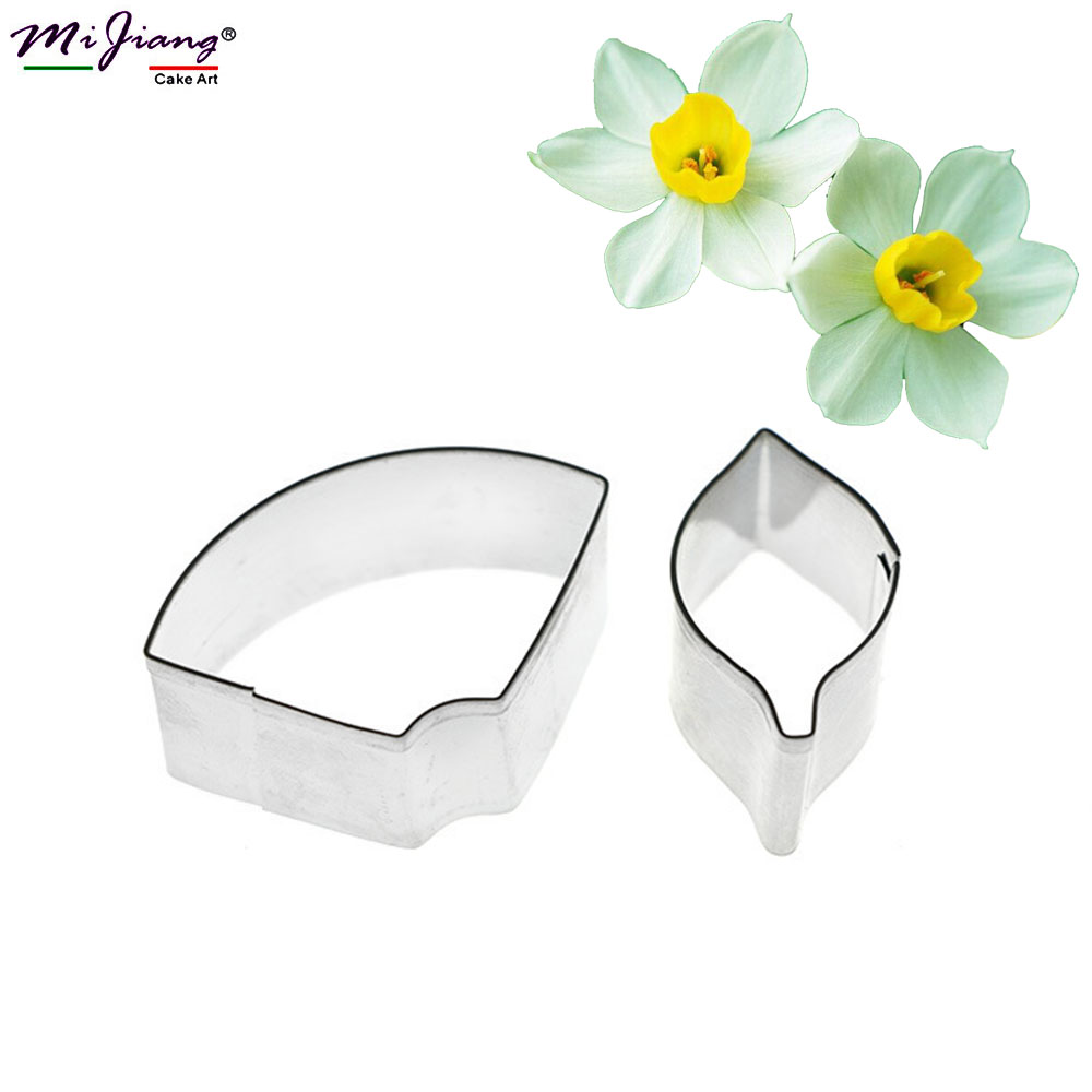 2016 Daffodil Bunga Kelopak Alat Baking untuk Kek Fondant Cookie Cutter Stainless Steel Cake Decorating Tools Borong SA353