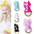 Venda quente Anel de Dentição Do Bebê Dentição Mordedor Sino Círculo De Madeira Natural Com Tecido De Madeira Treinamento Recém-nascidos Brinquedos VCN72 P15 0.5