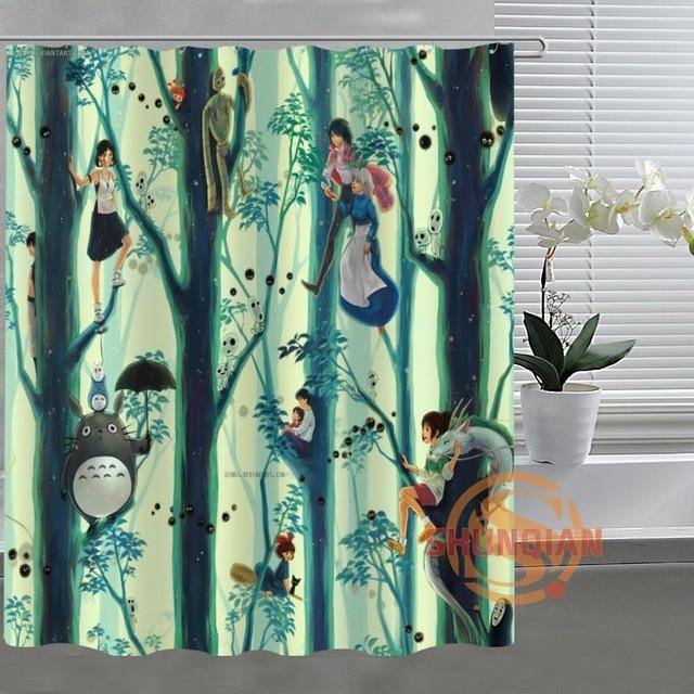 Studio Ghibli Totoro Custom Shower Curtain Bathroom Fabric For Decor Acceptable H03M26D37