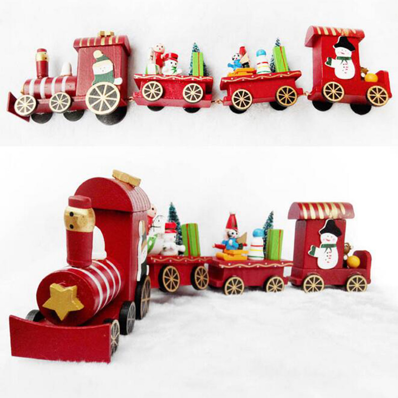 Small train wood desktop crafts christmas ornament