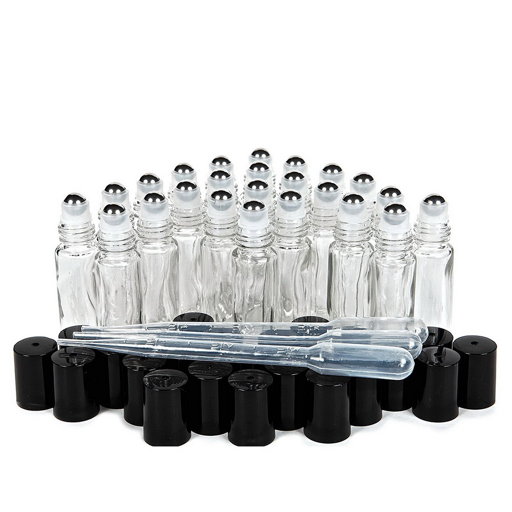 24pcs 10ml Plain Clear Glass Roll On Bottles Empty Stainless Steel Roller Ball Bottle For Essential Oils Aromatherapy Perfume