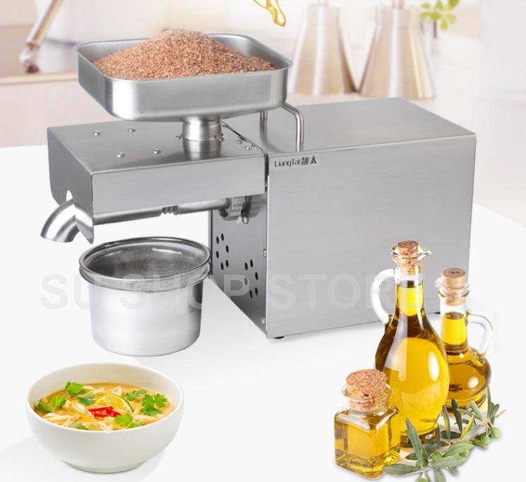 220 v/110 v automático máquina da imprensa de óleo, presser óleo Casa, extrator de óleo de semente de aço inoxidável, mini máquina da imprensa de óleo Frio quente