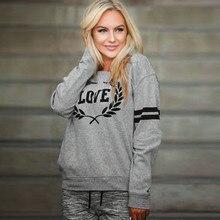 2019 Winter Womens Sweatshirt Casual Love Letters Print Pullover Female Long Sleeve Sweatshirt Pullover Tops L0717 ornate print long sleeve casual sweatshirt