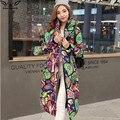 2017 de alta qualidade de inverno extra longo Engrossar casaco de algodão para baixo das mulheres jaqueta outerwear feminino Com Capuz moda casacos de impressão