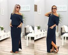 Повседневное летнее платье женские элегантные Пляжные наряды длинное платье Разделение халат Longue Femme Vestidos женские платья Новинка 2017 года LJ9607Z