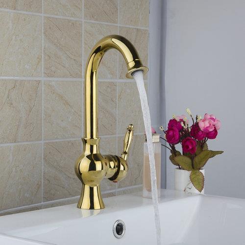 Hello Luxury Golden Swivel Single Handle Deck Mounted 9829K Basin Sink Water Vessel Lavatory Kitchen Torneira