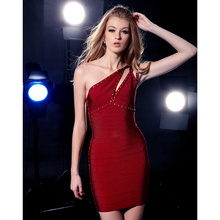 Claire 2016 Autumn Wine Red Sequined One Shoulder Rayon Lady HL Bandage Dress CD161