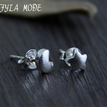 S925 Sterling Silver Vintage Star Moon Stud Earrings Handmade Thai Silver Women Jewelry