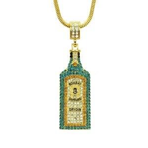 Image 3 - Collares grandes con diamantes de imitación para botella de vino, colgantes, estilo Hip Hop, Color dorado, para hombres y mujeres