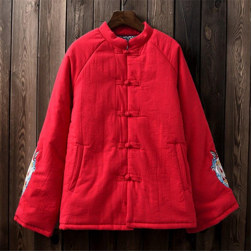 Coton et lin vêtements femmes hiver coton rembourré manteau vintage noir outwear broderie poisson veste rétro veste chaude veste