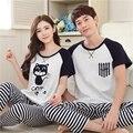 Os Amantes de verão Sleepwear Calças de Comprimento Manga Curta Homens E Mulheres Casais Jogo do Pijama Definir Plus Size 3XL