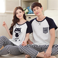 Summer Lovers Sleepwear Short Sleeve Length Pants Men And Women Couples Match Pajama Set Plus Size 3XL