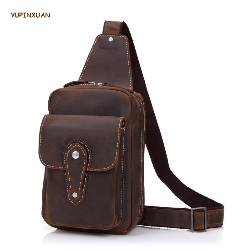 YUPINXUAN Europe Vintage Real Leather Men Bags Brown Crazy Horse Chest Packs Small Shoulder Bag Travel Cow Leather Chest Bag yupinxuan vintage cow leather messenger bag for men luxury crocodile grain chest bags cowhide crossbody bag chest packs russian