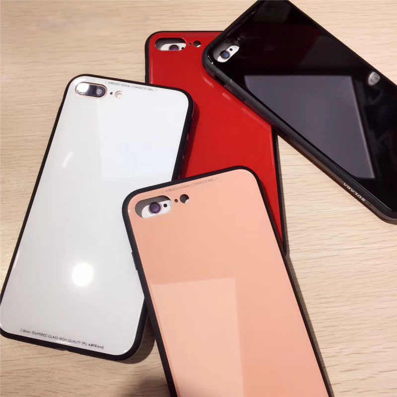 76a725a44e3 Plain Tempered Glass Case For Apple iPhone 6 6S 7 8 Plus Cell Phone Cover  Cases
