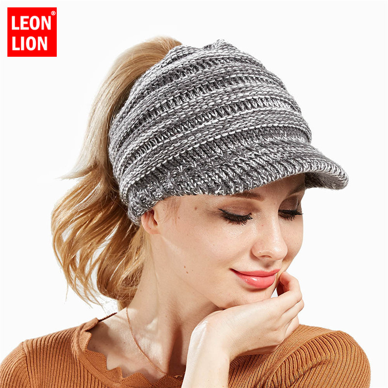 Short Brim Hat Women Knitted Hat Ladies Ponytail Beanie Caps For ... efd54256e52