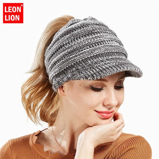 9a0126abae0f1 Short Brim Hat Women Knitted Hat Ladies Ponytail Beanie Caps For Women  Twist Headwrap Hat Girls Croceht Beanies Czapka Zimowa