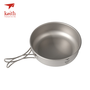 Image 4 - Keith Camping Titanium Bowls 300ml 600ml With Titanium Folding Handles Folding Bowls Cookware Tableware Cutlery Ti5323 Ti5326