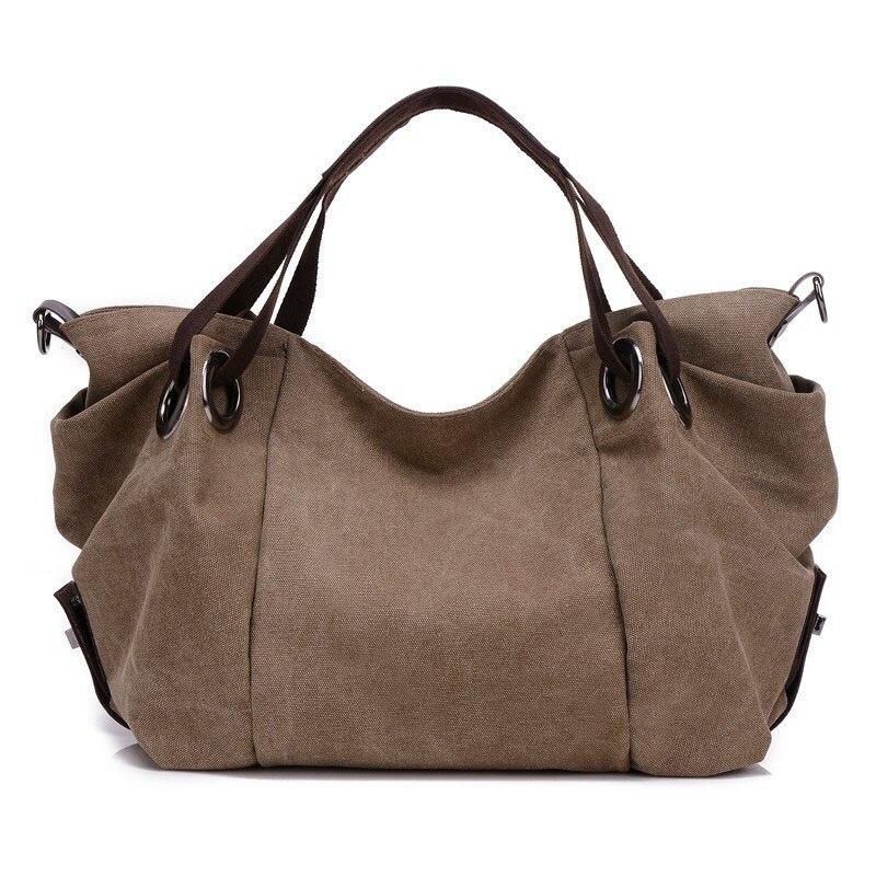 Canvas Bag Handbag Large Hobos Totes Bolsas Vintage Solid Woman Shoulder Bag