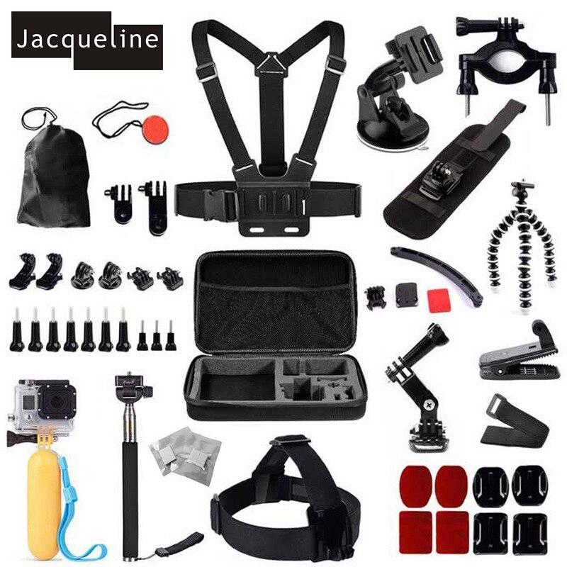 Jacqueline pour fixation de tête monopode accessoires Kit pour GoPro Hero 6 5 4 3 + pour SJCAM pour EKEN pour l'action de SOOCOO