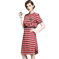 2018 New Arrival European Women Elegant Short Sleeve Polka Dot Print Fashion Casual Work Office Party Dress Knee Length