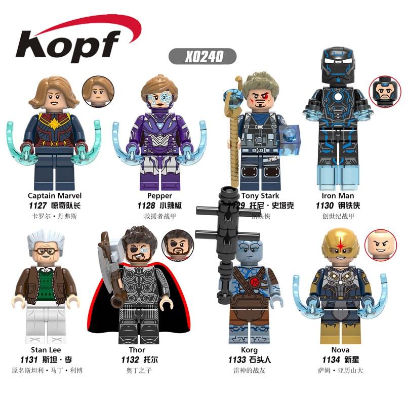 Et salg byggesten Super Heroes Marvel Captain Pepper Tony Stark Iron Man Stan Gør tal for børn Gavelegetøj X0240