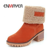 ENMAYER Ankle Boots Booties 2018 Woman Winter Size 34-39 Pointed Toe Zip Causal Round toe Faux Fur Thick High heels CR2032