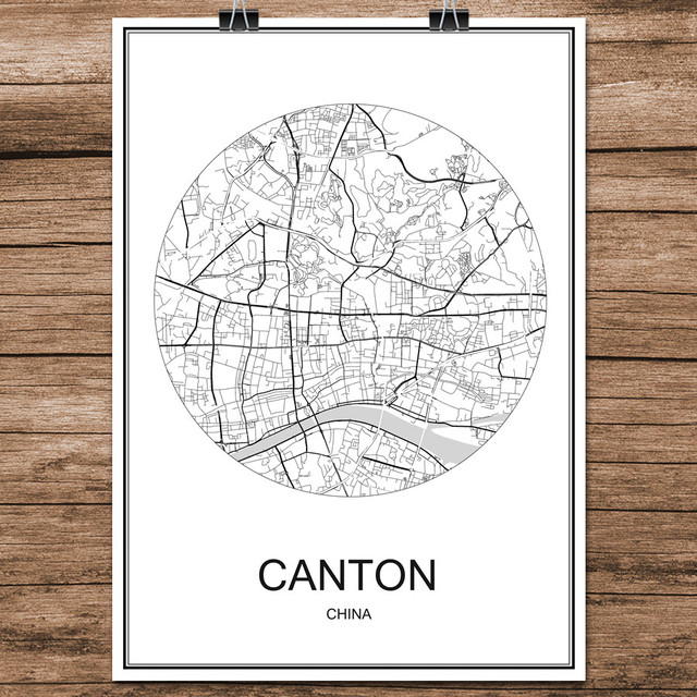 CANTON China Famous World City Street Map Print Poster Abstract