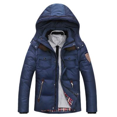 Jaqueta dos homens Cores Sólidas Outono E Inverno Homens Jaqueta de Pato Para Baixo Com Capuz Grosso Vestuário Casual Masculino Casacos de Zíper MA390