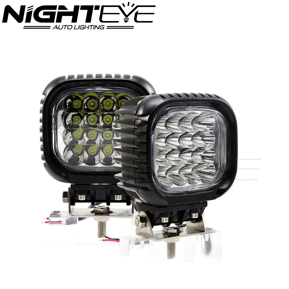 ФОТО Super White 96W/set Flood Beam Car LED Work Light Truck 48W/pc Driving Fog Light With Cree Chips For Jeep Offroad SUV 4WD Bar