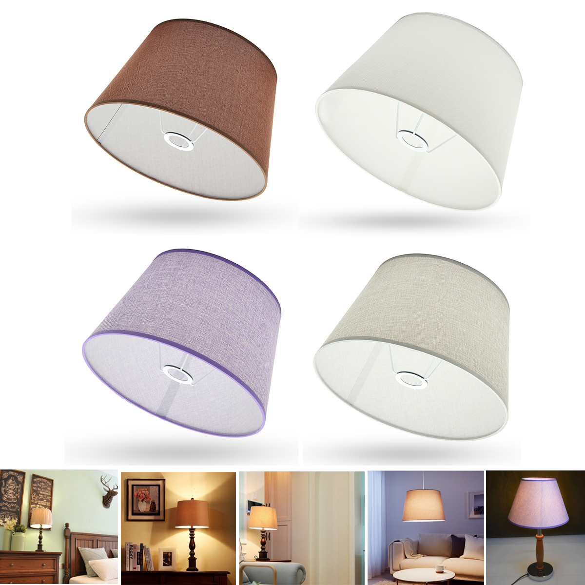 230x300x185MM Ceiling Lamp Shade Table Lampshape Home Cotton Textured Fabric PVC Linen R ...