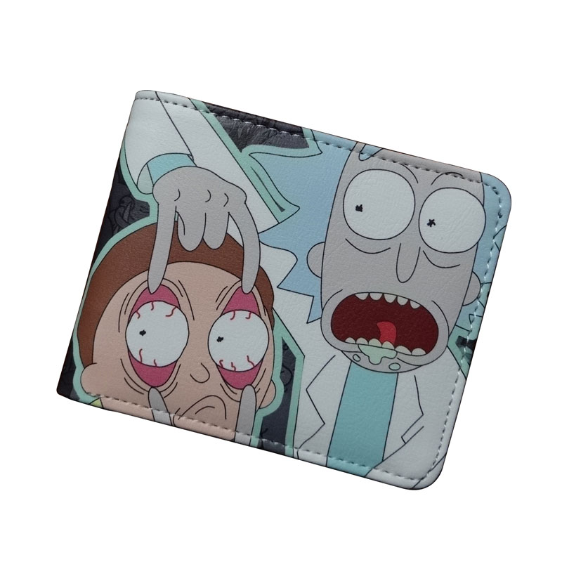 Casual Leather Purse Anime Cartoon Rick and Morty Wallets carteira Lovely Card Money Bags for Kids Boy Girl Folded Short Wallet the harry potter short wallets jack skellington man purse move wallet doctor who rick and morty cartoon kids cion purse