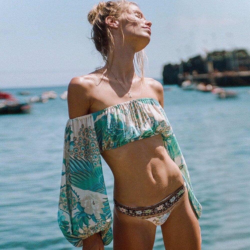 Jastie Women Sexy Off Shouder Beach Floral Cover-ups Lantern Sleeve Covers Up Bathing Suit Summer Beach Wear Pareo Swimwear