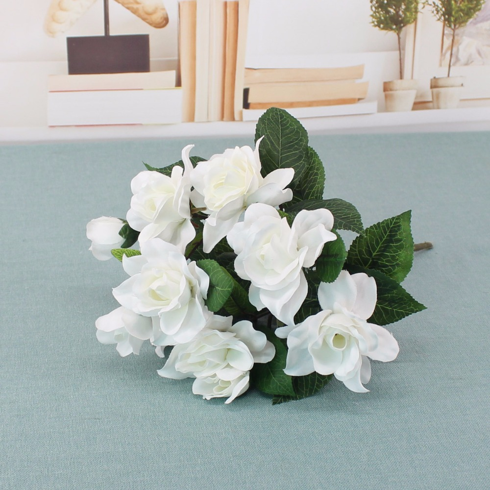 7 heads pretty charming lifelike artificial flowers silk gardenia 7 heads pretty charming lifelike artificial flowers silk gardenia flowers bride bouquet home wedding decor diy supplies in artificial dried flowers from izmirmasajfo