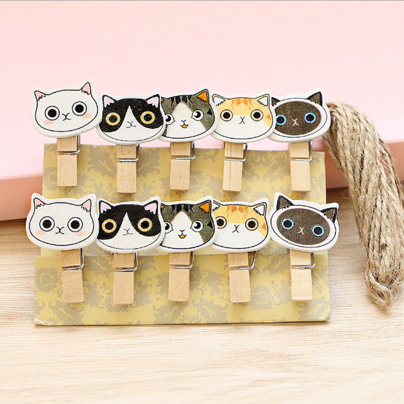 10Pcs/lots Korean Kawaii Kitten Wooden Clip Photo Paper Postcard Craft DIY Decoration Clips Office Binding Supplies Stationer