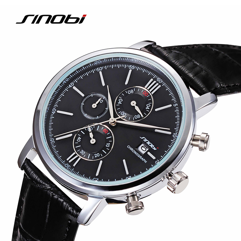 Simple Classic Business Quartz Watch Men JAPAN SINOBI Brand Leather Casual Wristwatch Chronograph Sport 2017 Relojes hombre New