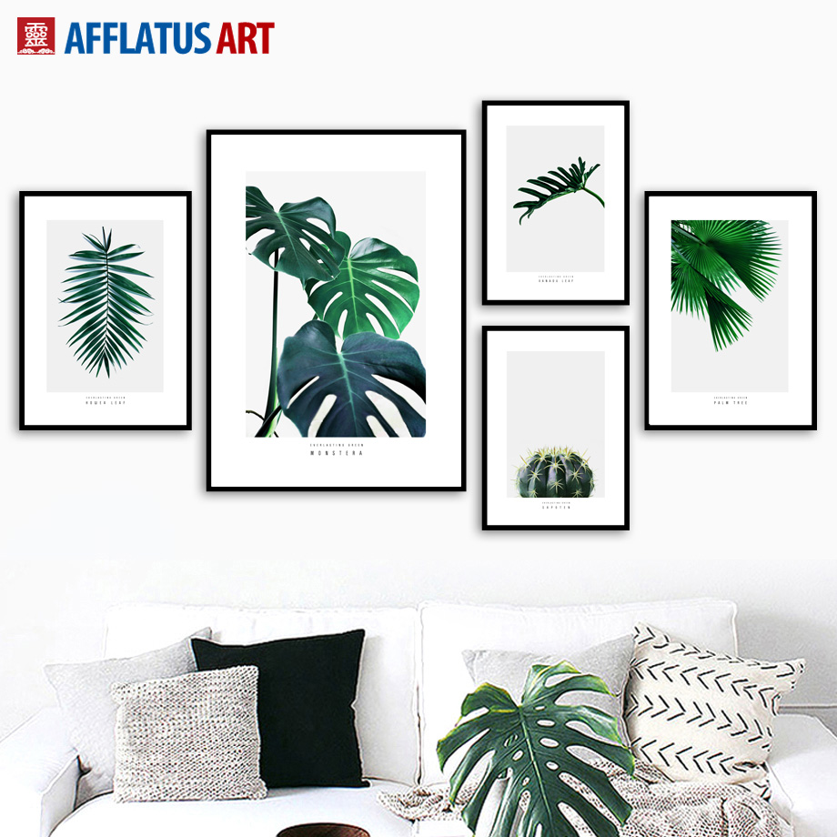 Green Plants Cactus Monstera Palm Leaves Wall Art Canvas