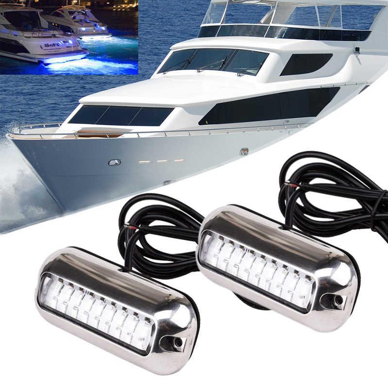 1 أو 2 قطعة 12 فولت 24 فولت 50 واط الفولاذ المقاوم للصدأ 27LED الأزرق LED قارب ضوء تحت الماء عائم البحرية السفينة Transom ضوء