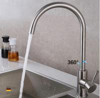 SUS 304 Stainless Steel Hot & Cold Water Kitchen Faucet 360 Swivel Basin Brushed Nickel Mixer Deck Mounted Faucet Tap