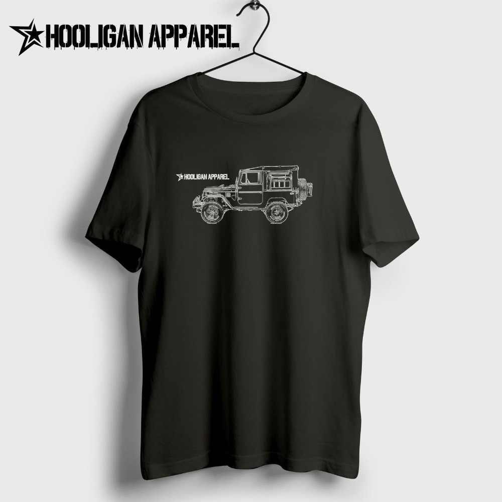 Toyo Land Cruiser Fj49 4X4 Inspirado Arte Carro Caminhão Tonka Personalizado 100% Algodão de Manga Curta O Pescoço Tops Camisas hip Hop Camisas