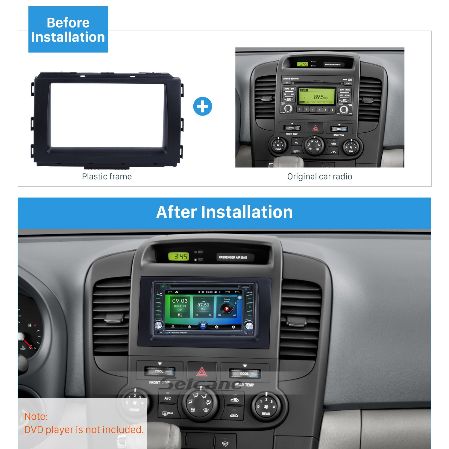 цена на Seicane Black 2Din Car Radio Fascia Frame Refitting Plate Panel Dashboard For 2014 KIA CARNIVAL SEDONA