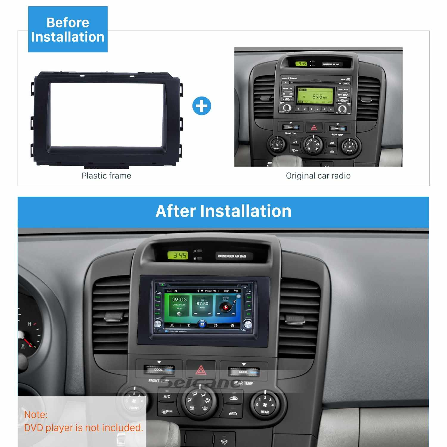 hight resolution of seicane black 2din car radio fascia frame refitting plate panel dashboard for 2014 kia carnival sedona