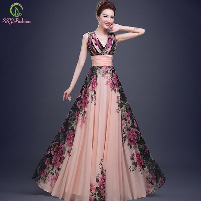 Fashion Evening Dresses Bridal Marrige Banquet Chiffon Printing ...