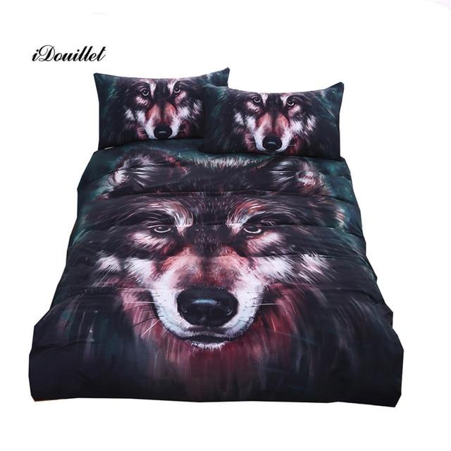 Idouillet 3d Oil Painting Animal Wolf Bedding Set Men S Duvet Cover
