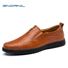 GNORNIL Brand Men Genuine Leather Loafer Shoes 2018 Fashion Soft Comfortable Slip On Casual Footwear Flats Men Business Shoes new fashion casual men shoes flats loafer sneaker style comfortable classic slip leather snakeskin pattern simple style
