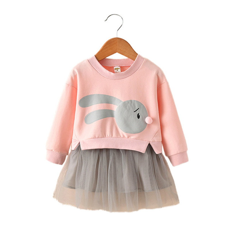 Fashion Girls Princess Dress Yarns Party Dress Cartoon Rabbit Print Children Dress Cotton