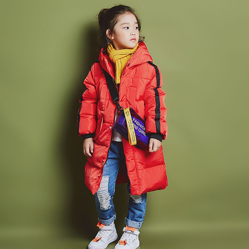 цена на NEW 2018 Children Winter Down Jacket Boys Girls Winter Jacket Kids Warm Hooded Coat Thick Outerwear 6-12 Years Kid Clothing 1810
