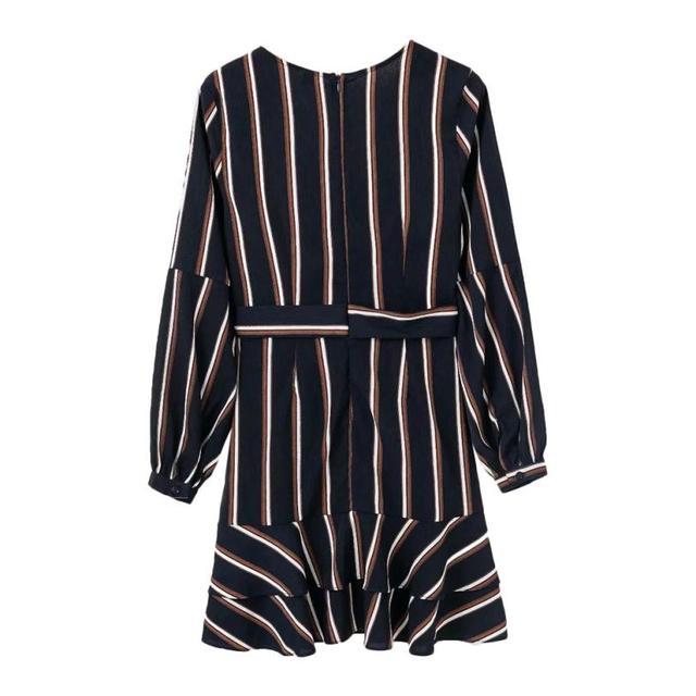 KANCOOLD Dress Women's Fashion Lantern Sleeve Casual Striped V-Neck Dress Casual Ruffle Mini Party Dress women 2018AUG9 6