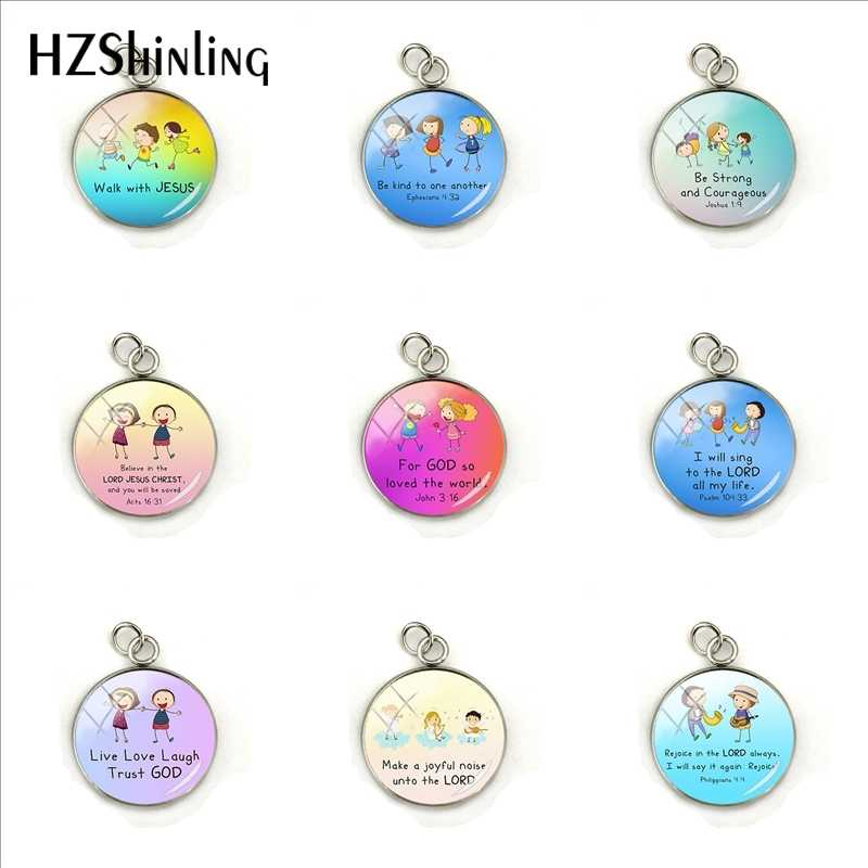 Lovely Children Bible Verse Christian Quote Charms Cabochon Round Hand Craft Silver Pendants Glass Dome Jewelry for Women