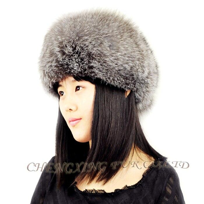 CX-C-95B Высококачественная модная шапка из натурального Лисьего меха с хвостами - Цвет: Серебристый