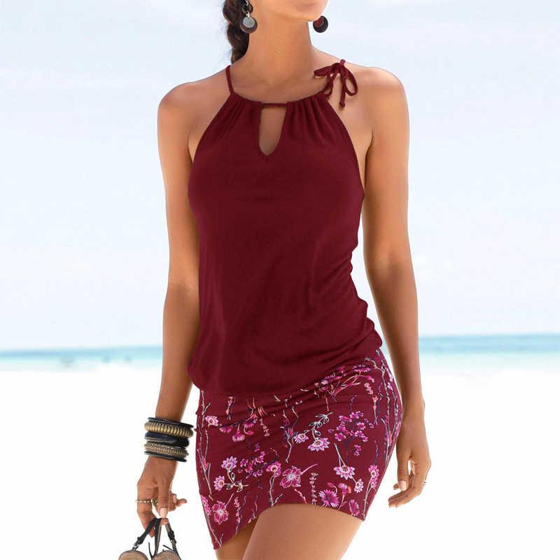 Сексуальное летнее пляжное мини-платье Женская туника на бретелях с цветочным принтом в стиле пэчворк без рукавов с вырезами ретро платья халат Femme Vestidos